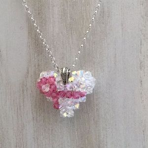 Breast Cancer Heart, Swarovski, Crystal